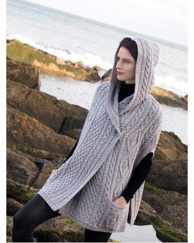 Aran Traditional Pattern Hooded Cape | dayana | Pinterest