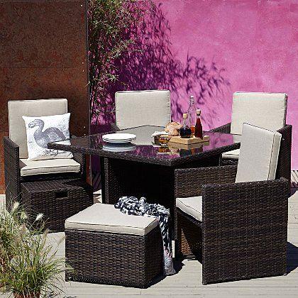 Borneo 9 Piece Cube Dining Set Home Garden George At Asda Diy Garden Furniture Modern Design Design
