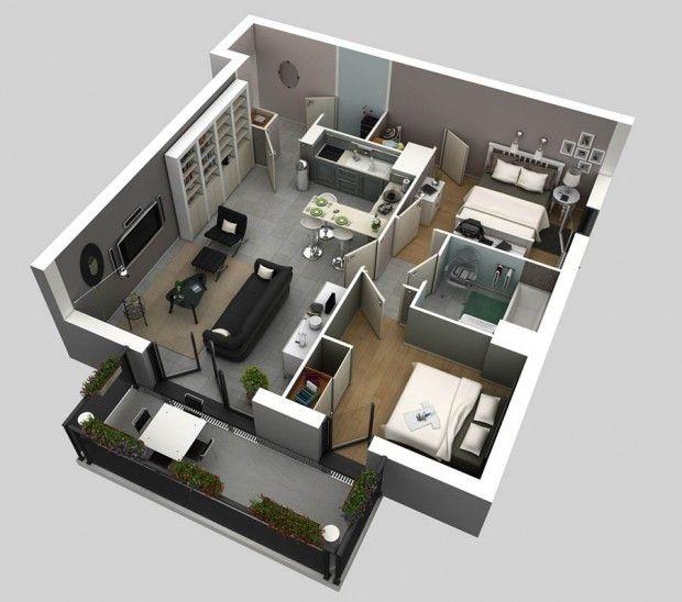Two bedrooms mini house pinterest planos casas y for Maquetas de apartamentos modernos