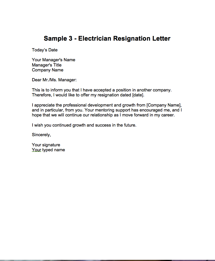 Resignation Format Resignation Letter For Post Of Electrician  Http