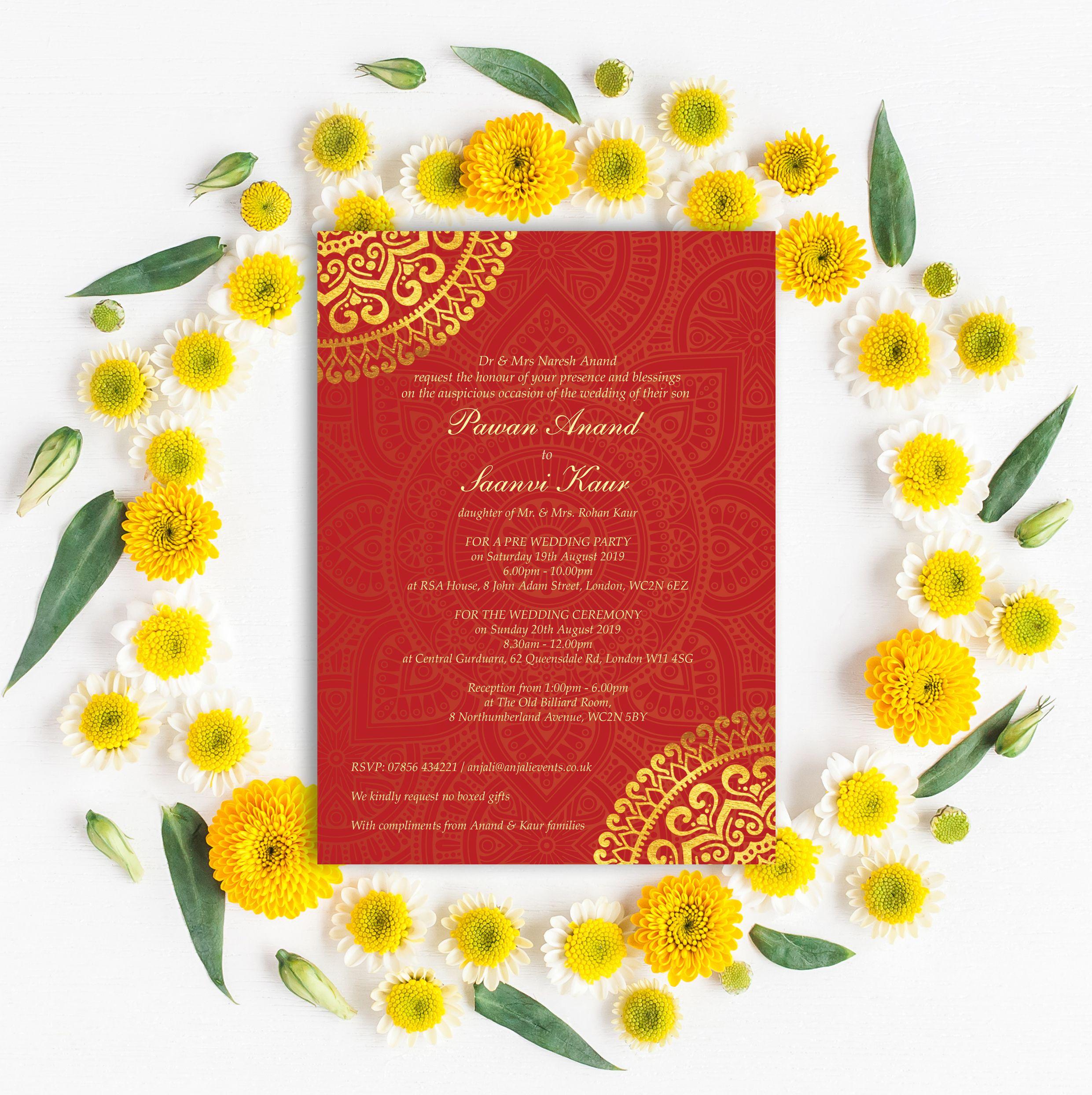 Red & Gold Mandala Indian / Asian Wedding Invitation | Wedding