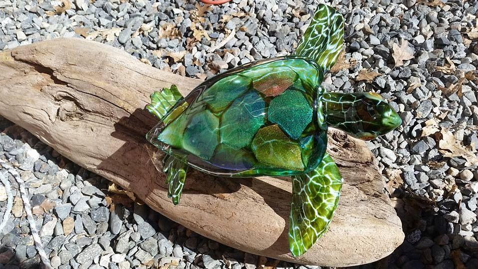 Amazing Hopko Art Glass - Turtle with Dichro shell #handblown #Dichroic #seaturtles #glassart #Hopko