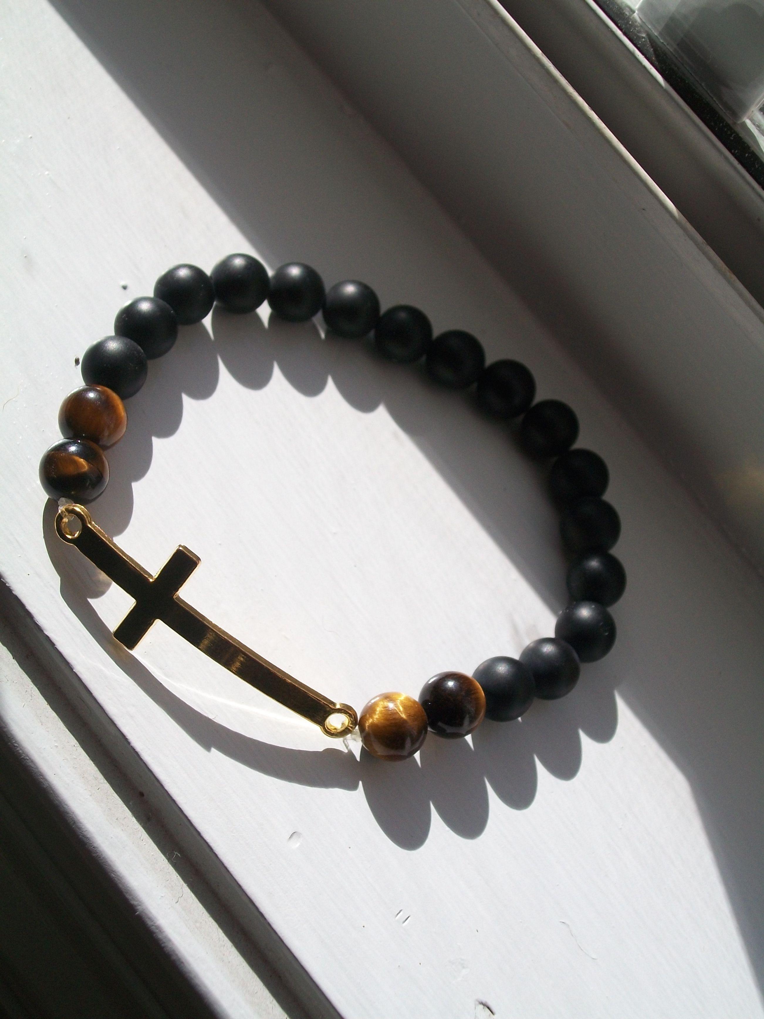 Golden Cross, Tiger Eye Beads, and Matte Beads.