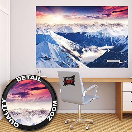 Charmant Poster Alpen Panorama Wandbild Dekoration Winter Sonnenuntergang Schnee  Landschaft Natur Berge Gletscher Gebirge Gipfel | Wandposter