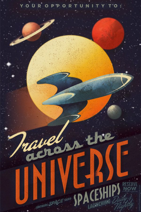 Great retro universe poster to fuel the imagination for Outer space travel