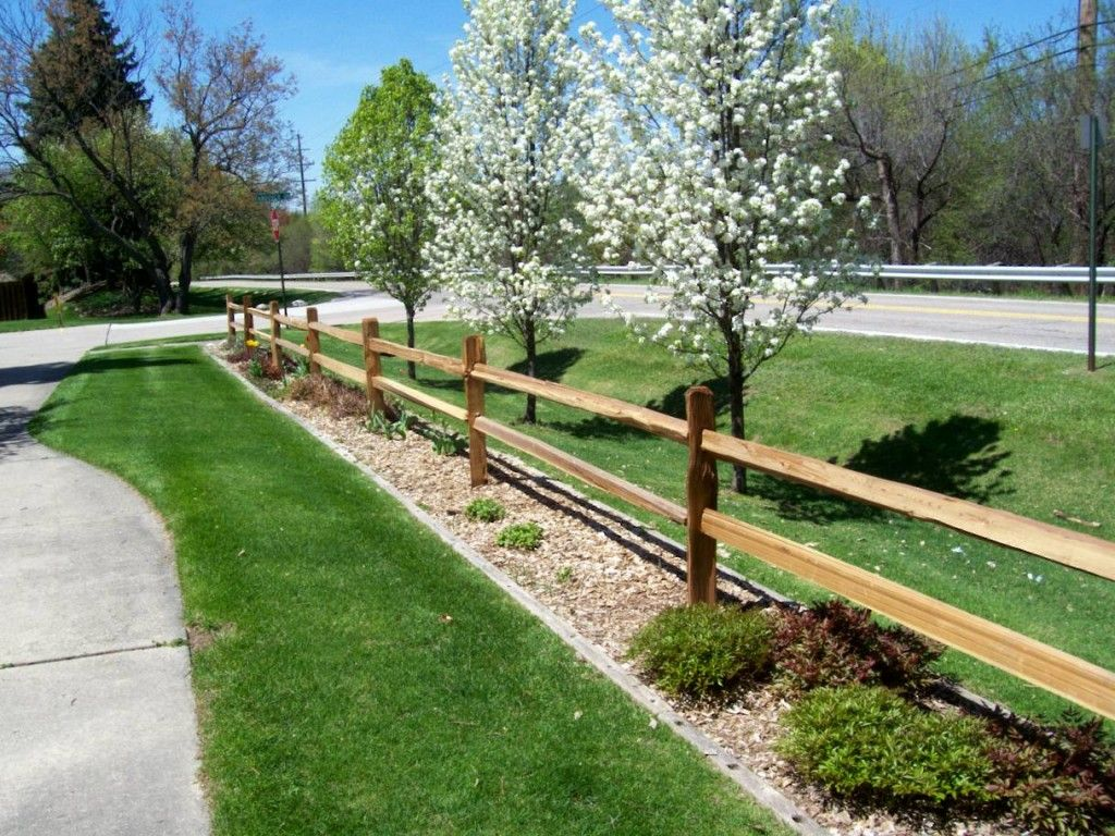 Front Yard Split Rail Driveway Landscaping Fence Landscaping
