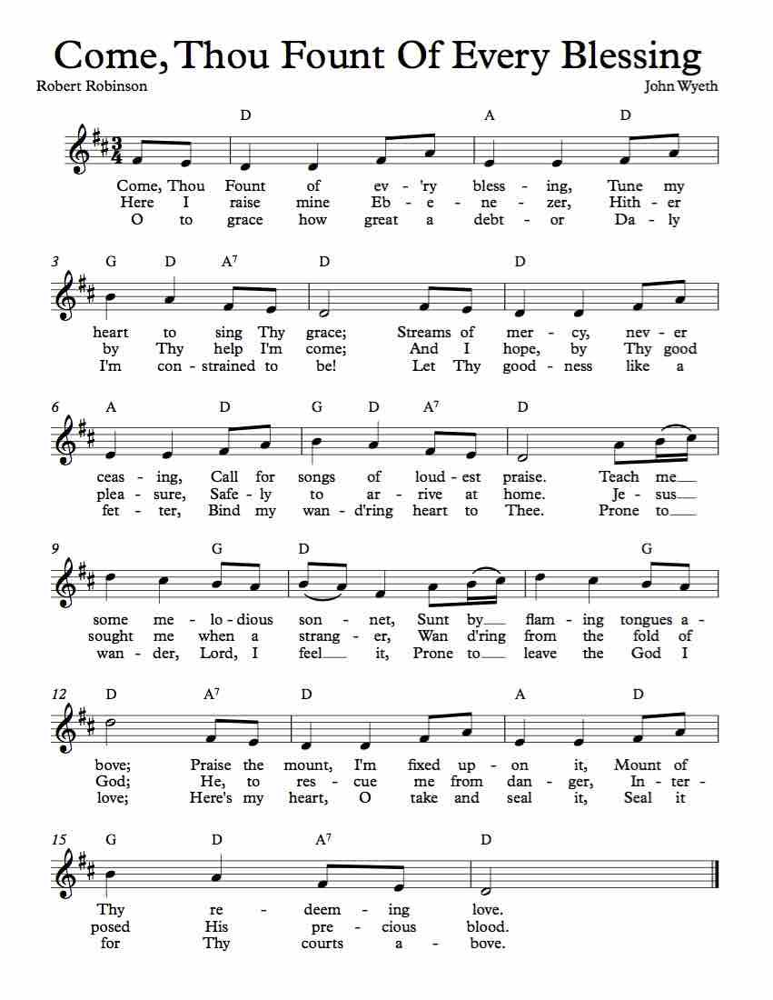 Free Sheet Music For Come Thou Fount Of Every Blessing Enjoy
