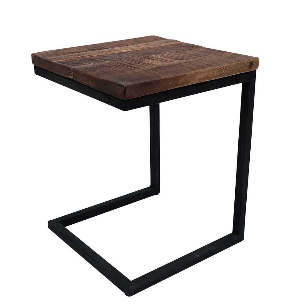 Label 51 box laptop tafel 40x40x50 vierkant mango hout metaal zwart onderstel woonidee n - Ampm tafel ...