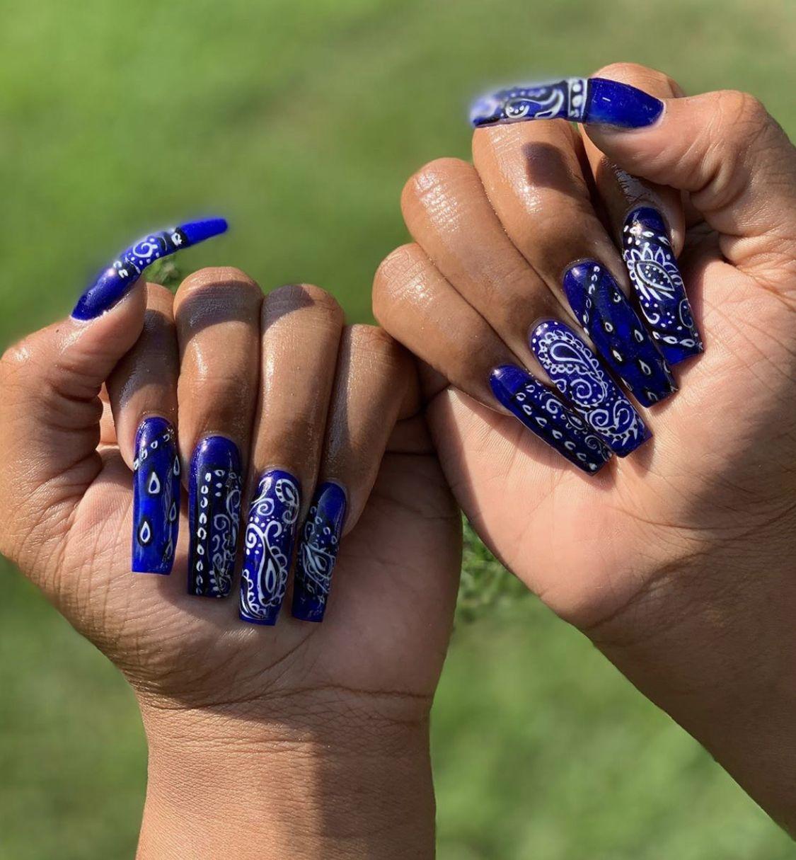 Pin By So Si On Nails Designs Bandana Nails Pretty Acrylic Nails Swag Nails