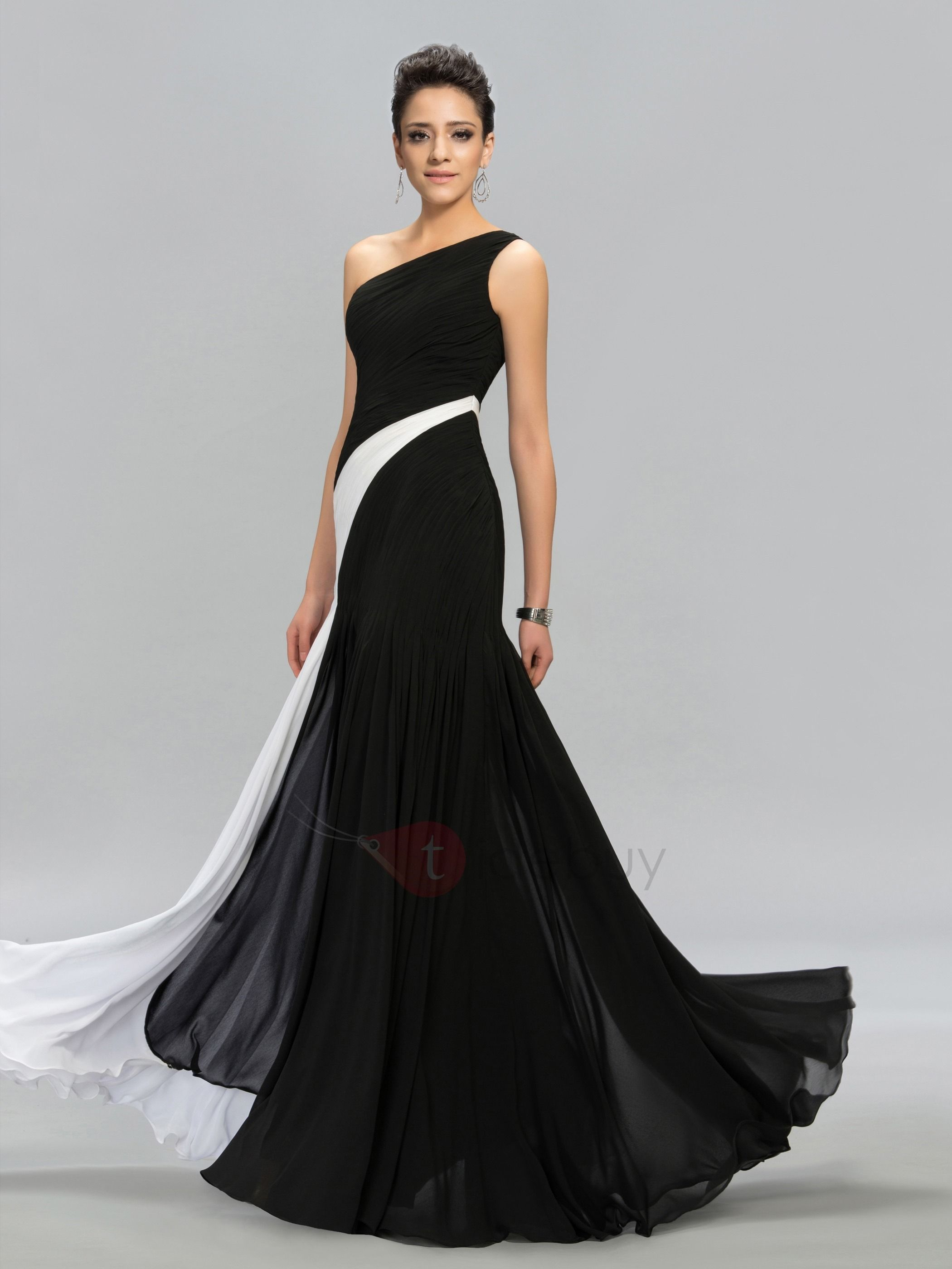 Contrast color oneshoulder evening dress diamond dress