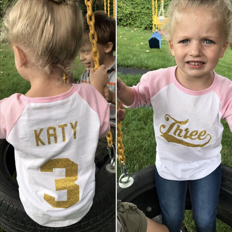 Three Year Old Girl Birthday Shirt Personalized Baseball 3rd Toddler Raglan Tee Third