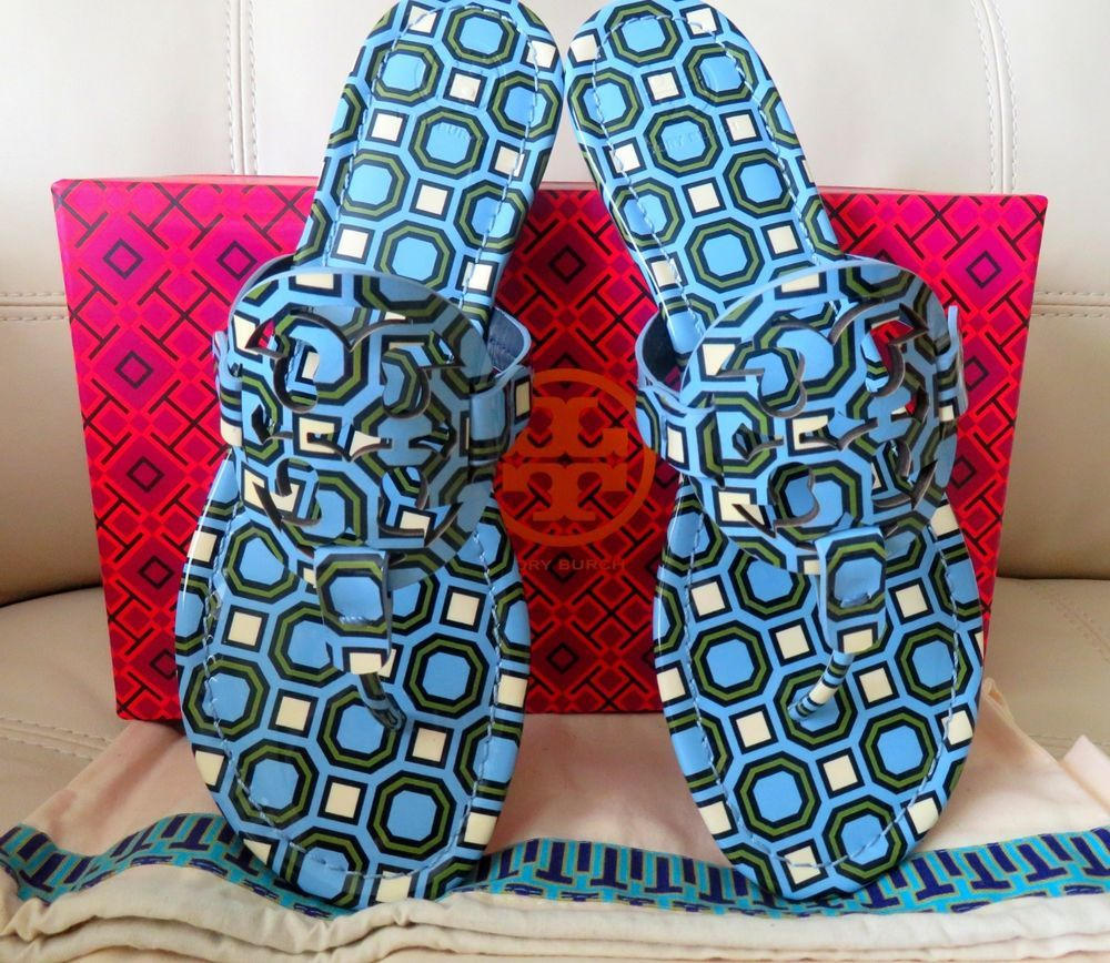 5d5a20044 NIB Tory Burch Miller Sandals Light Chambray Blue Size 9 Patent Leather   ToryBurch  Thong