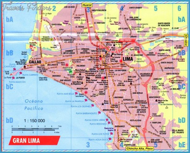 Lima Map Tourist Attractions Travelsfinderslimamap