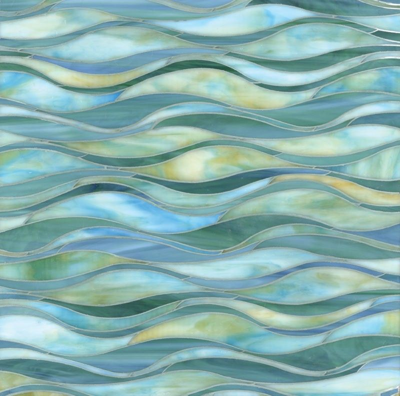 Strip Blue Wave Stained Glass Mosaic Tiles For Wall Decoration