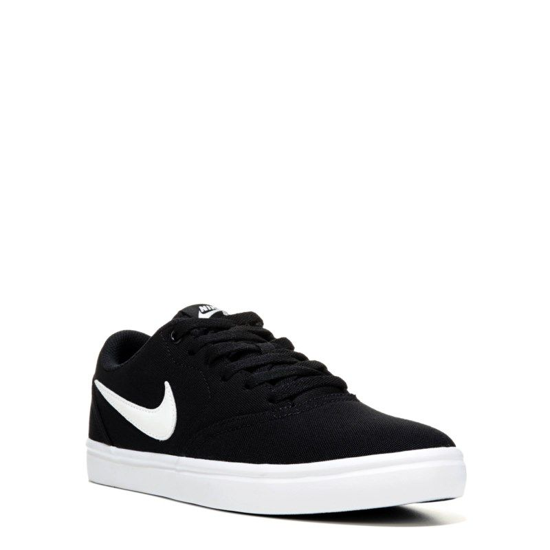 Nike Women s Nike SB Check Solar Canvas Skate Shoes (Black White) - 11.0 M ad7ee1664d08a