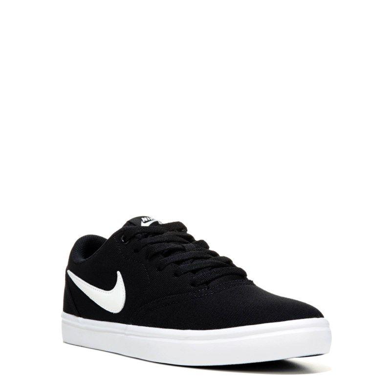 Nike Women s Nike SB Check Solar Canvas Skate Shoes (Black White) - 11.0 M d9215667f40