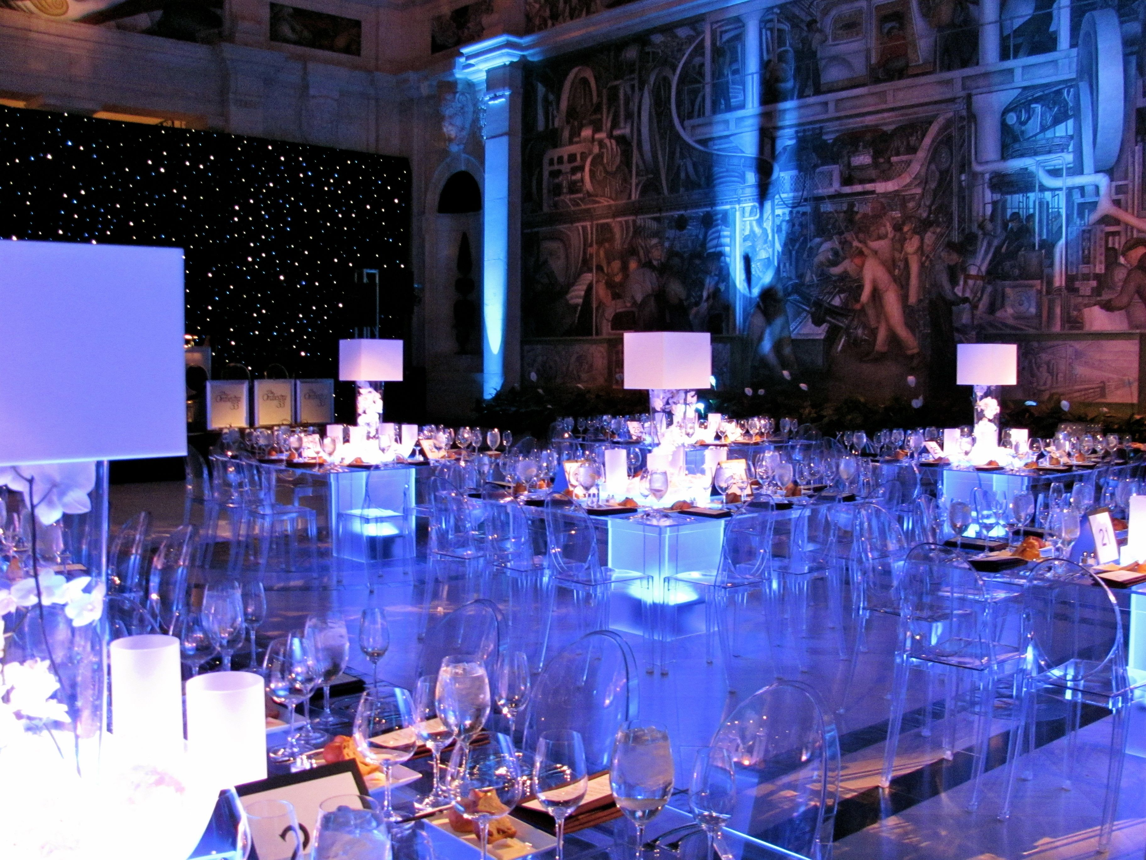 Gerych 39 s beautiful reception with acrylic tables and ghost for Glass tables for wedding reception