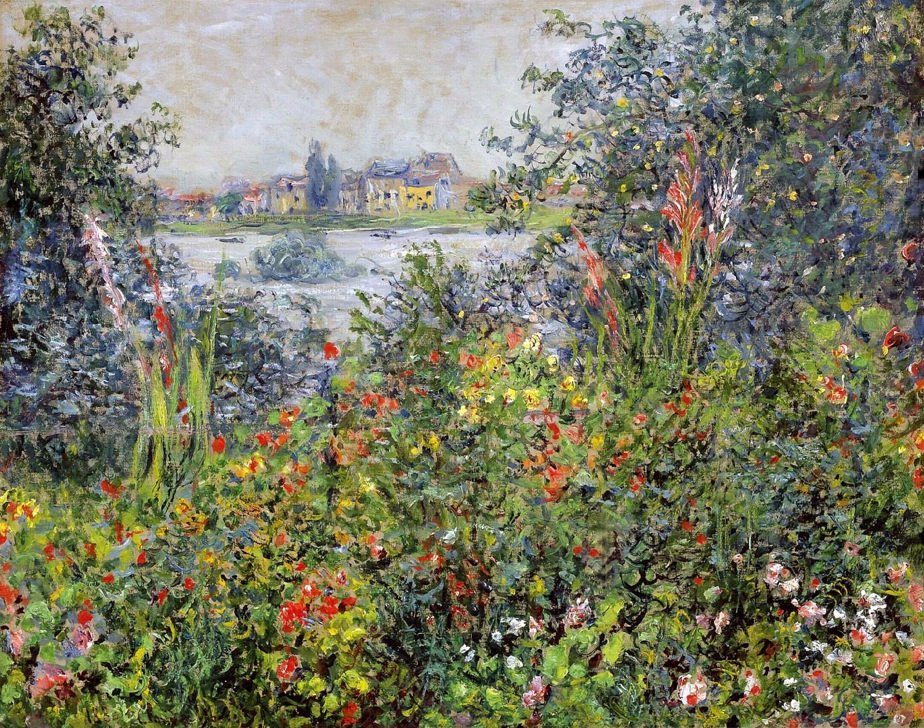 Handmade Oil Painting Reproduction Of Claude Oscar Monet Flowers At Vetheuil    On Canvas And Available In Any Size Or Choose Another Work From More Than  ...