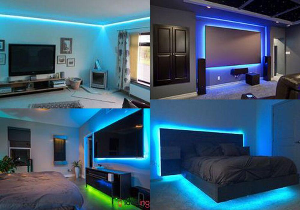 Rgb Led Strip Lights Kit Led Lighting Bedroom Color Changing Rope Lights Home Theater Room Design