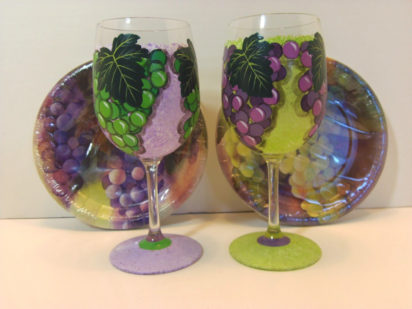 hand painted grapes wine glasses painted glass dishes ceramic