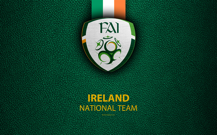 Herunterladen Hintergrundbild Republik Irland Fussball Nationalmannschaft 4k Leder Textur Wappen Logo Fussball Irland Europa National Football Teams Team Wallpaper Football Team