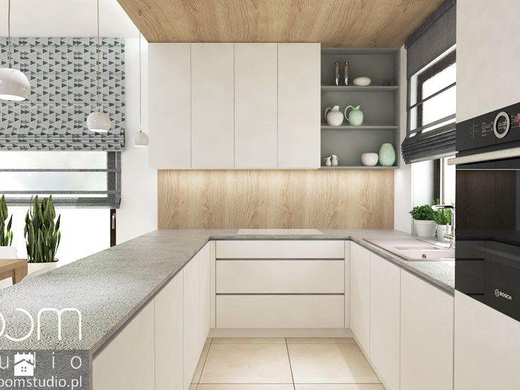 Salon z Sówką - Średnia otwarta kuchnia w kształcie litery u, styl ...