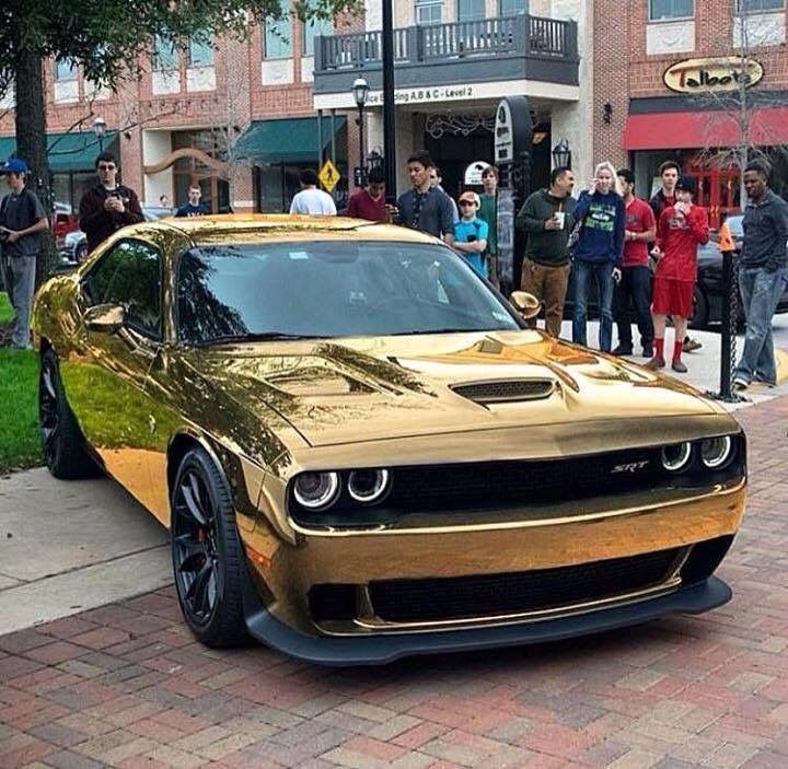 gold wrapped hellcat dodge challenger hellcat challenger dodge challenger hellcat pinterest