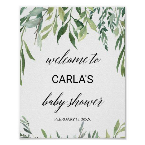 Modern Greenery Foliage Baby Shower Welcome Poster | Zazzle.com #weddingwelcomesign