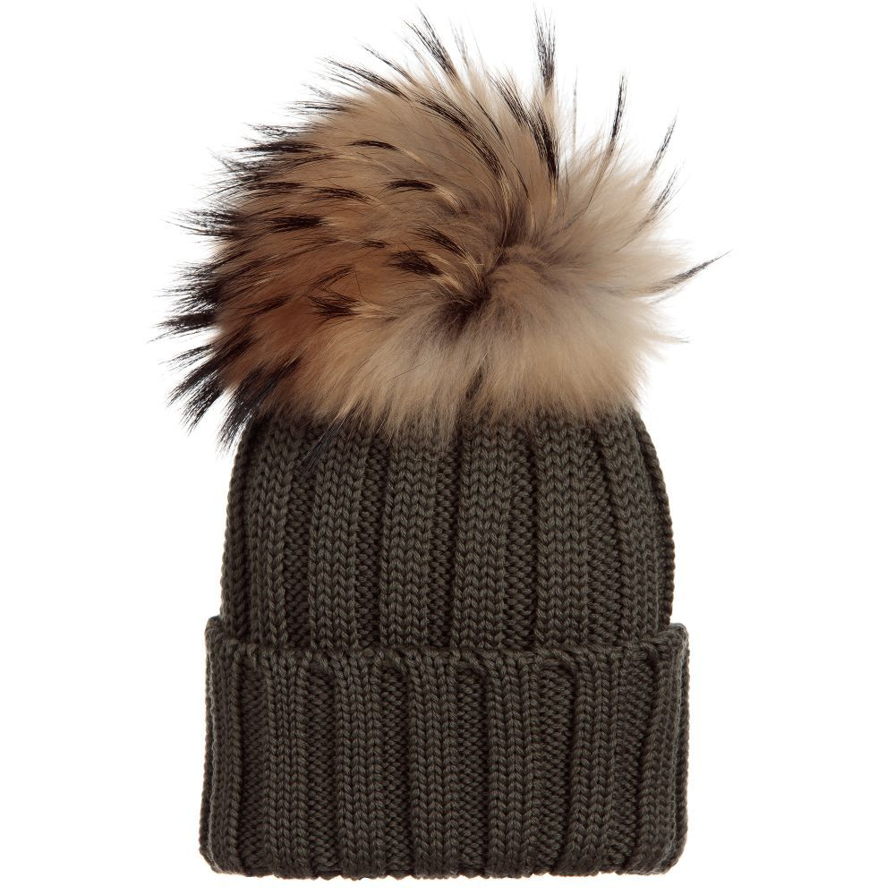 Green Wool Hat   Fur Pom-Pom for Girl by Catya. Discover more beautiful  designer Hats for kids online 56124124446d