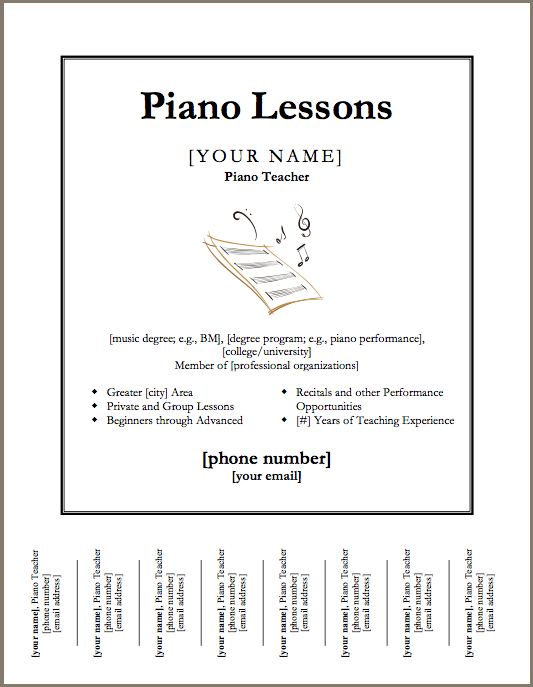 Just Added Piano Lessons Flyer Template Piano Lessons Piano