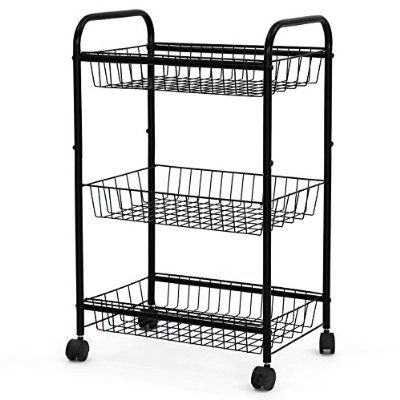 Charming SONGMICS 3 Tiers Rolling Storage Cart With 2 Removable Baskets Kitchen  Pantry Laundry Organizer Bathroom Utility Cart On Wheels Black