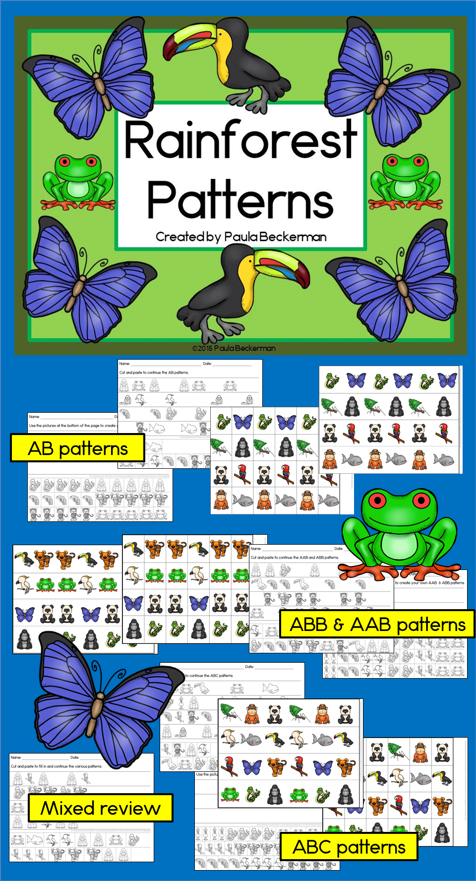 Rainforest Patterns Math Centers with AB, ABC & ABB Patterns ...
