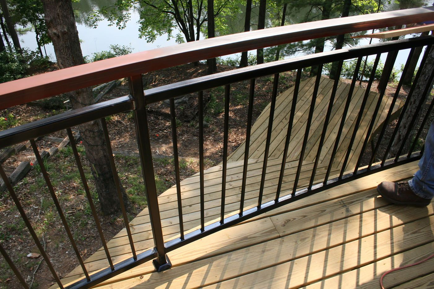Deck railing designs wood distinctive and various for Outside decking material
