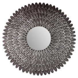 """Metal wall mirror with a layered starburst frame.   Product: MirrorConstruction Material: Metal and mirrored glassColor: GunmetalDimensions: 36"""" Diameter x 2"""" D"""