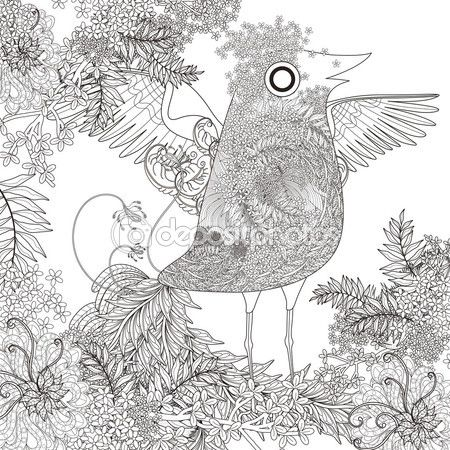 Página para colorear de aves divertidas — Vector de stock | Pajaros ...
