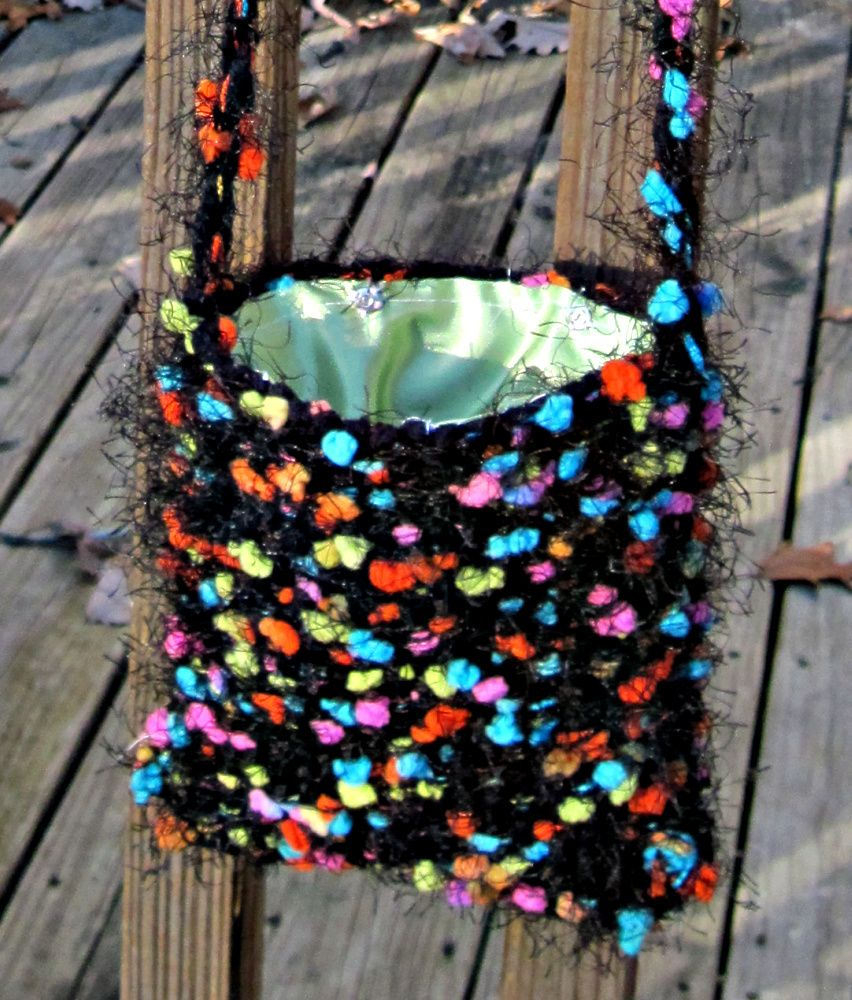 Multicolored Little Bag, handwoven on the potholder loom