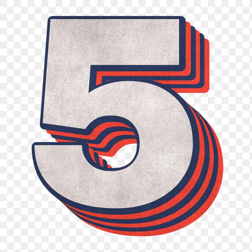 Number 5 Layered Text Effect Png Font Free Image By Rawpixel Com Cuz