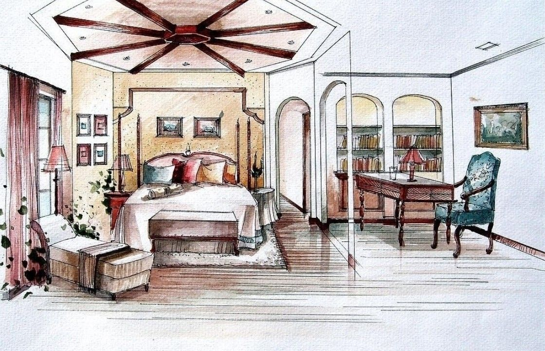 Interior Design Sketches Living Room sketch bedroom study room and partition | bocetos y dibujos