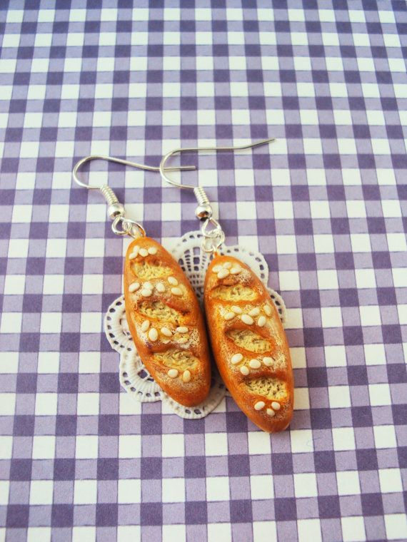 French Bread Baguette Polymer Clay Earrings, Miniature Clay Dessert Food Jewelry, Hook Earrings, Silver Plated on Etsy, $13.85 AUD