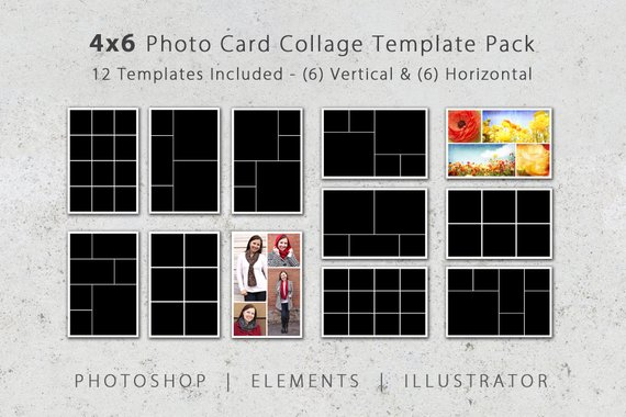 4x6 Photo Template Pack 12 Photo Card Templates Photo Etsy Photo Card Template Photo Template 4x6 Photo