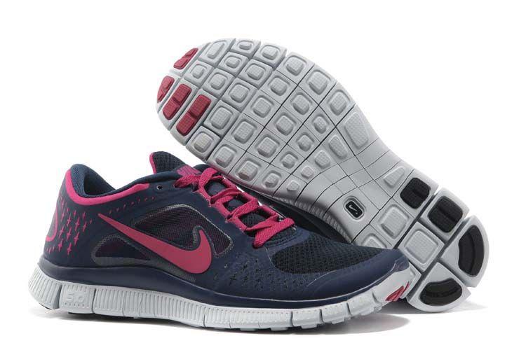 newest eecd0 49d2c Vrouwen Nike Free Run 3 Schoenen Donker Blauw Roze benadrukt de natuurlijke  beweging van de voet