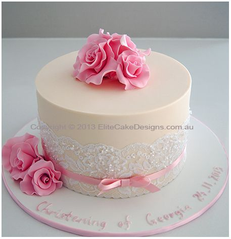 Christening Cake Design For Baby Girl : French Rose Christening Cake for a girl Cakes ...