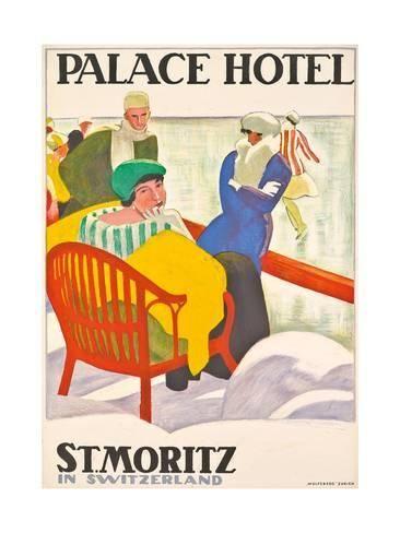 MORITZ PALACE HOTEL Vintage Ski Posters ST Swiss Art Deco Travel Print 1920