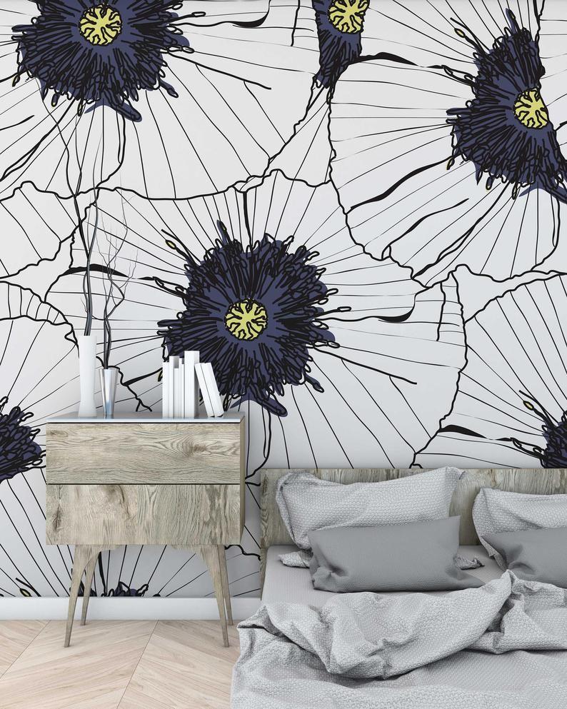 White Hibiscus Flowers Wallpaper Self Adhesive Wallpaper Etsy In 2020 Wall Wallpaper Room Wallpaper Designs Wallpaper Decor