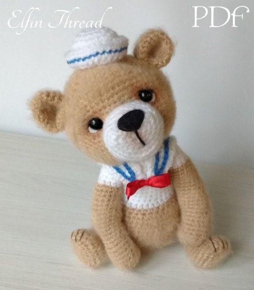 Urso Marinheiro Amigurumi | Amigurumi de animais de crochê ... | 577x505