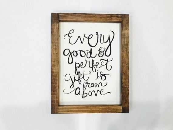 Every Good and Perfect Gift Hand lettered Sign  by 202designs