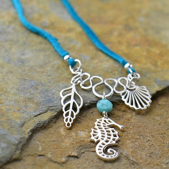 seahorse charm shell charm ocean charms leather cord for jewelry