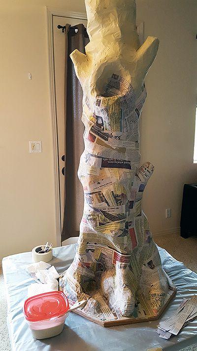 My paper mache Halloween Tree: paper mache strip application