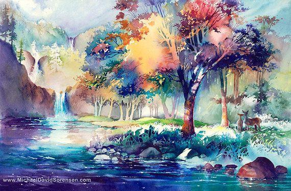 Colorful Watercolor Landscape Painting Print Waterfall Lake Etsy In 2020 Landscape Paintings Lake Art Watercolor Landscape Paintings