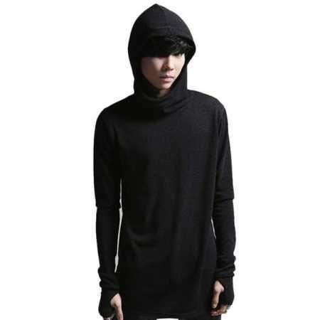 ed6ab805a Hip hop plain black hoodie with thumb holes for men dark style cowl neck  sweatshirts